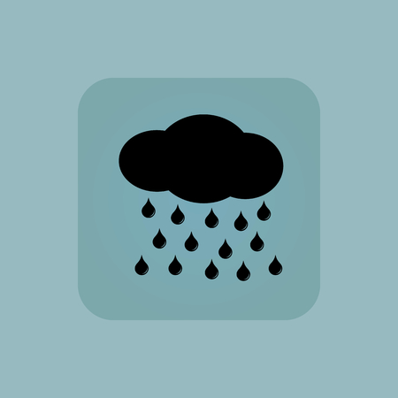 sleet: Image of cloud and water drops in square, on pale blue background