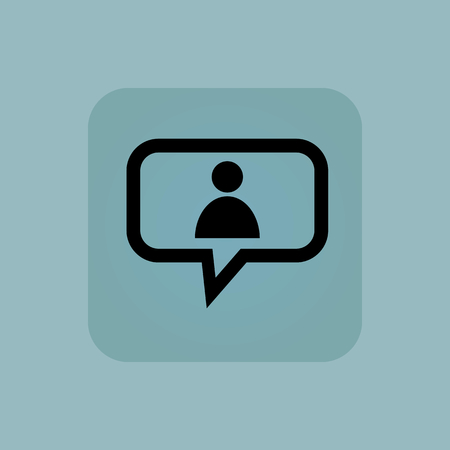 chamfered: User icon in chat bubble, in square, on pale blue background