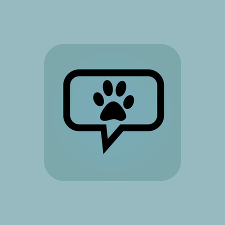 track pad: Paw print in chat bubble, in square, on pale blue background Illustration