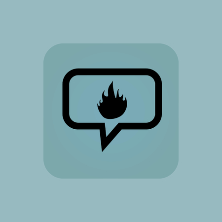chamfered: Flame image in chat bubble, in square, on pale blue background