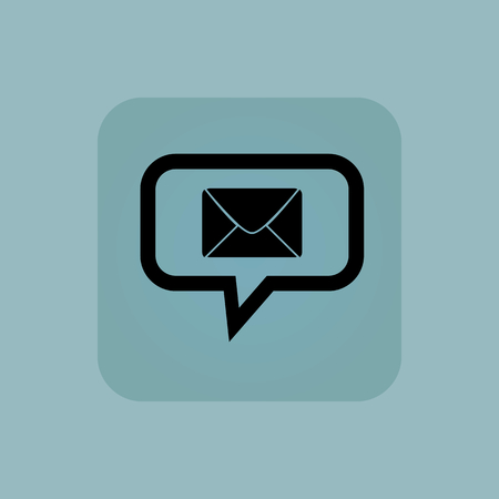 chamfered: Envelope in chat bubble, in square, on pale blue background