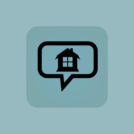chat window: House with window in chat bubble, in square, on pale blue background Illustration