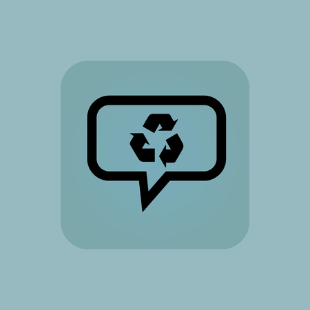 chamfered: Recycle sign in chat bubble, in square, on pale blue background