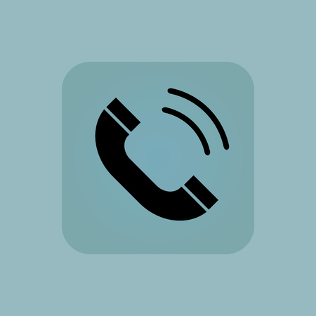 phone receiver: Image of ringing phone receiver in square, on pale blue background