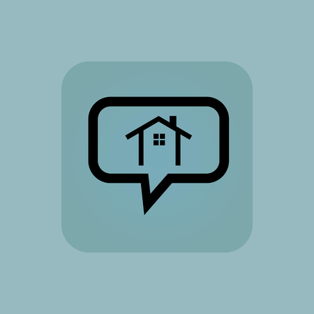 chamfered: House contour in chat bubble, in square, on pale blue background Illustration