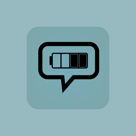 half full: Half full battery in chat bubble, in square, on pale blue background