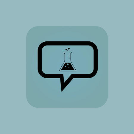 reagents: Conical flask in chat bubble, in square, on pale blue background