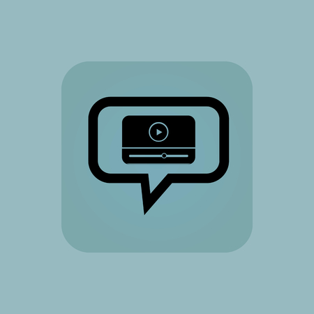chat window: Mediaplayer window in chat bubble, in square, on pale blue background Illustration