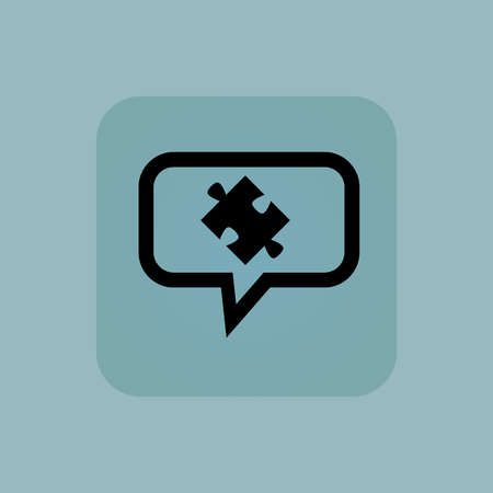 puzzle corners: Puzzle piece in chat bubble, in square, on pale blue background