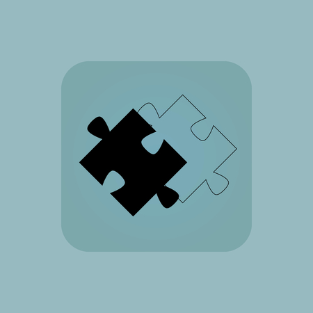puzzle corners: Image of puzzle piece and its contour in square, on pale blue background