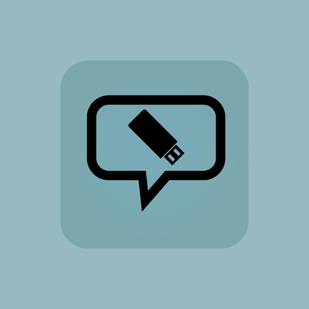 chamfered: USB flash drive in chat bubble, in square, on pale blue background