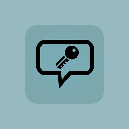 chamfered: Key in chat bubble, in square, on pale blue background Illustration