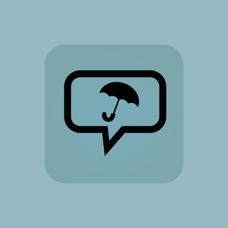 cloudburst: Open umbrella in chat bubble, in square, on pale blue background Illustration