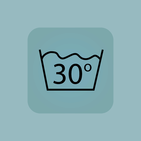 washbowl: Image of 30 degrees wash sign in square, on pale blue background