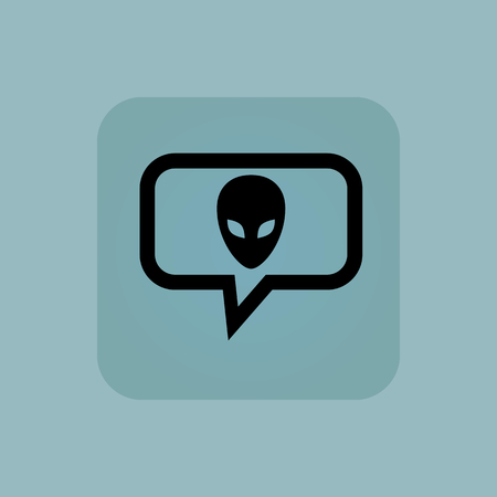 chamfered: Alien face in chat bubble, in square, on pale blue background