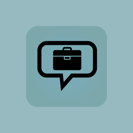 chamfered: Briefcase in chat bubble, in square, on pale blue background