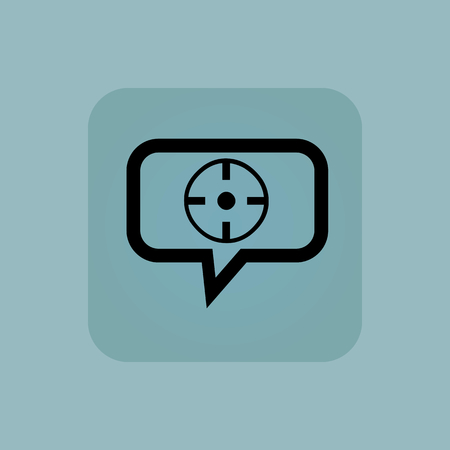 chamfered: Target in chat bubble, in square, on pale blue background