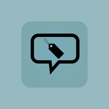 chamfered: String tag in chat bubble, in square, on pale blue background Illustration