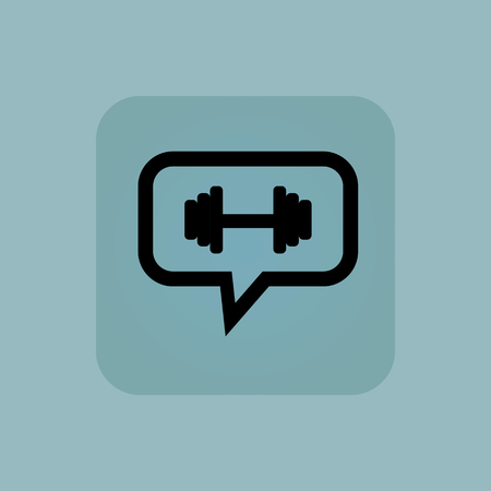 chamfered: Barbell in chat bubble, in square, on pale blue background