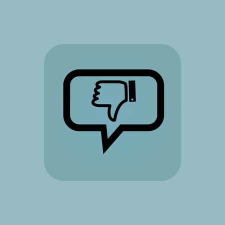 disapproval: Dislike symbol in chat bubble, in square, on pale blue background Illustration
