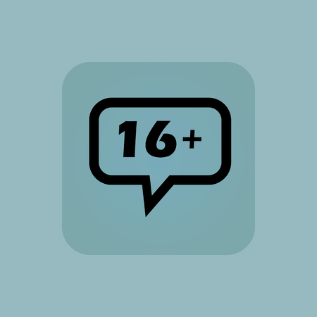 chamfered: Text 16 plus in chat bubble, in square, on pale blue background