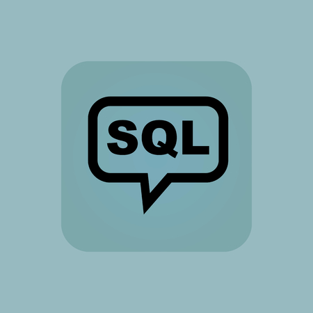 sql: Text SQL in chat bubble, in square, on pale blue background Illustration