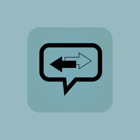 opposite arrows: Two opposite arrows in chat bubble, in square, on pale blue background