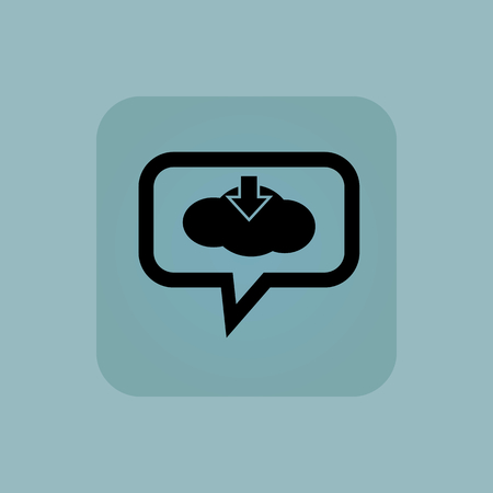 chamfered: Cloud and down arrow in chat bubble, in square, on pale blue background