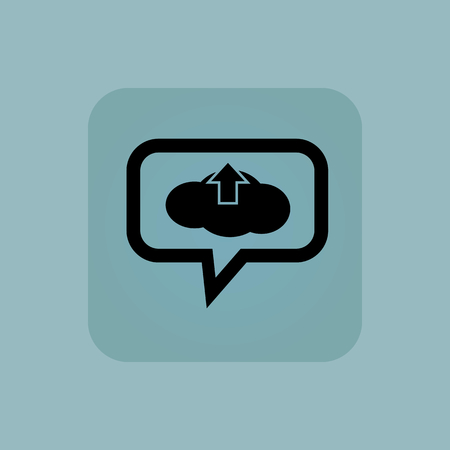 chat up: Cloud and up arrow in chat bubble, in square, on pale blue background