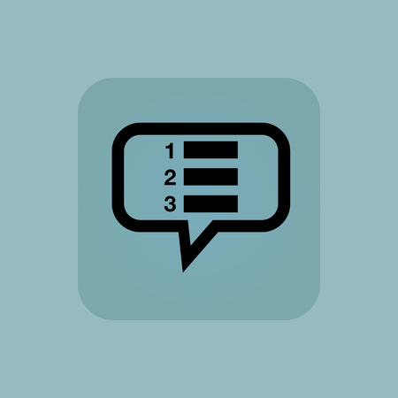 enumerated: Numbered list in chat bubble, in square, on pale blue background Illustration