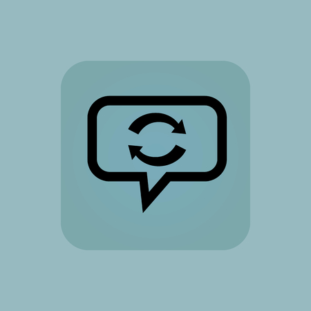 synchronization: Exchange symbol in chat bubble, in square, on pale blue background Illustration