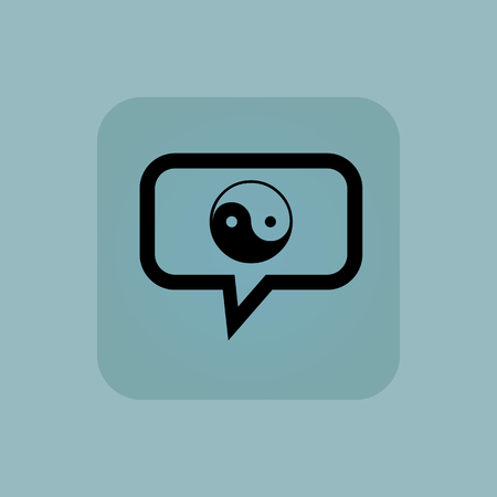 Ying yang symbol in chat bubble, in square, on pale blue background