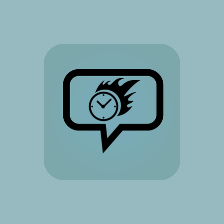 bounds: Burning clock in chat bubble, in square, on pale blue background