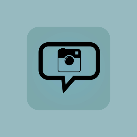 microblog: Square camera in chat bubble, in square, on pale blue background Illustration