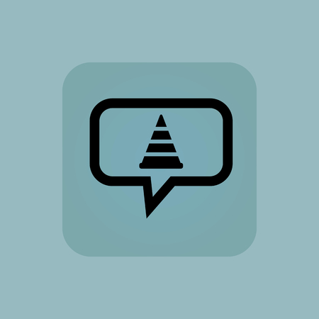 diversion: Traffic cone in chat bubble, in square, on pale blue background