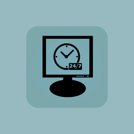overnight: Orologio e il testo 24 per 7 su schermo, in piazza, su sfondo blu pallido, Vettoriali
