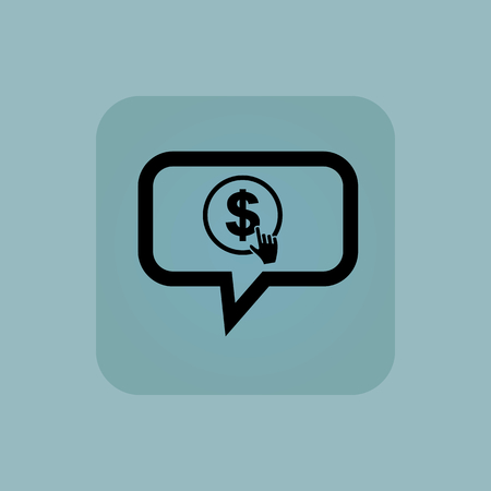 clicking: Hand cursor clicking on dollar in chat bubble, in square, on pale blue background Illustration