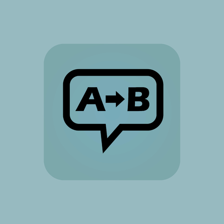 Letters A, B and arrow in chat bubble, in square, on pale blue background Illustration