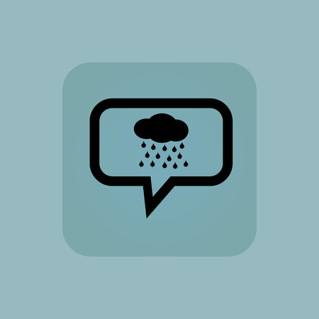 precipitation: Cloud and water drops in chat bubble, in square, on pale blue background Illustration