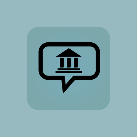 gable: Classical building with pillars in chat bubble, in square, on pale blue background