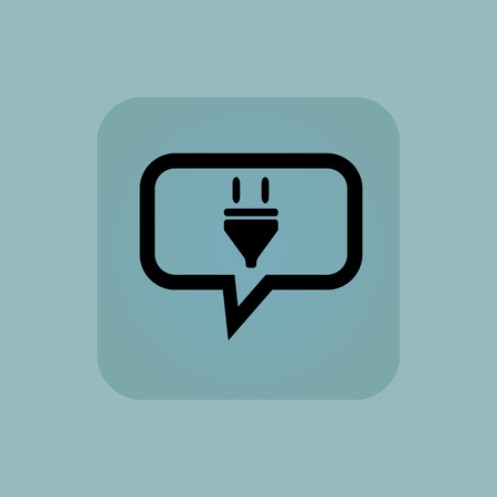 plug in: Plug in chat bubble, in square, on pale blue background