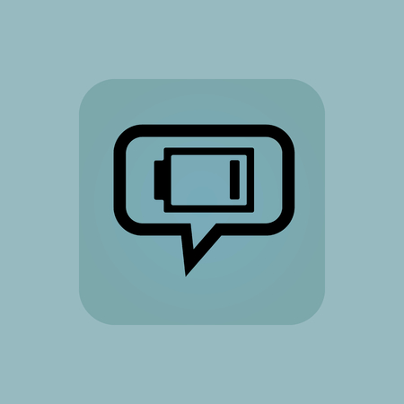 low battery: Very low battery indicator in chat bubble, in square, on pale blue background