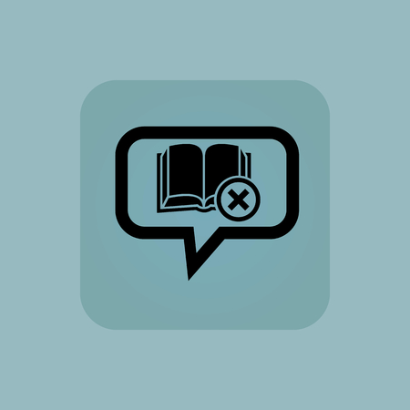 useless: Open book and cross in chat bubble, in square, on pale blue background
