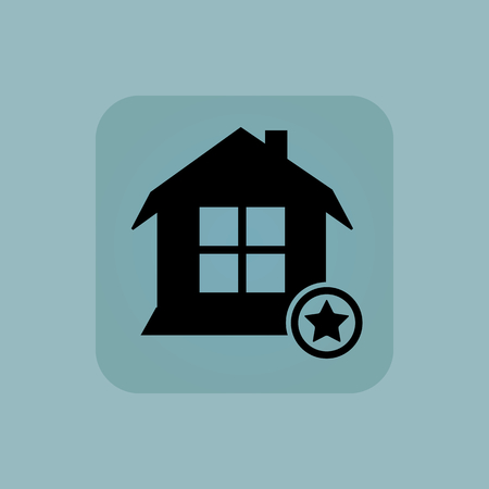 pastel like: Image of house and star in square, on pale blue background Illustration