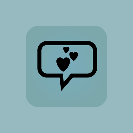 pastel like: Three hearts in chat bubble, in square, on pale blue background
