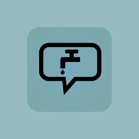 watertap: Tap and water drop in chat bubble, in square, on pale blue background Illustration