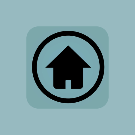 buy icon: House in circle, in square, on pale blue background Illustration