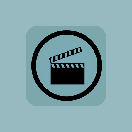 cinematograph: Clapperboard in circle, in square, on pale blue background Illustration