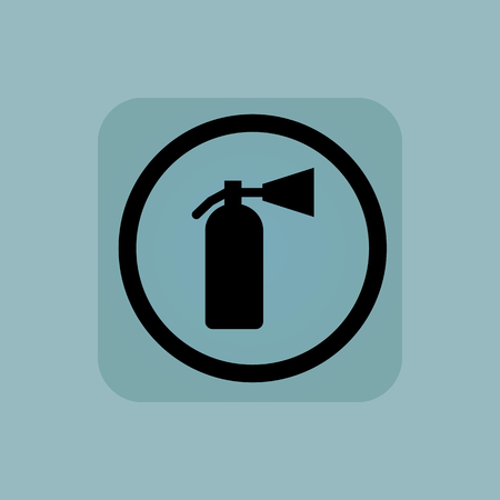 conflagration: Fire extinguisher in circle, in square, on pale blue background