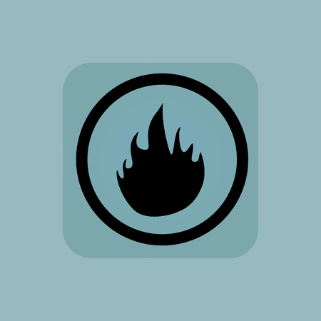 conflagration: Flame image in circle, in square, on pale blue background